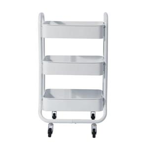FurnitureR Sylvia 3-Tier Rolling Kitchen Cart with Wheels - White