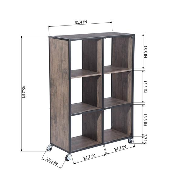 FurnitureR Montaury Movable Wooden board Bookcase - 6 sections