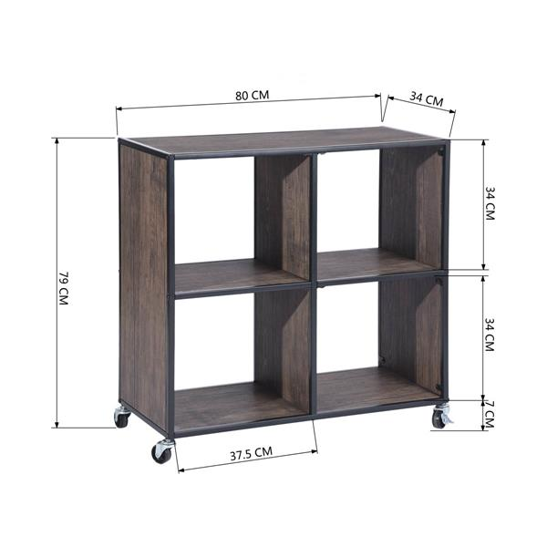 FurnitureR Montaury Movable Wooden board Bookcase - 4 sections