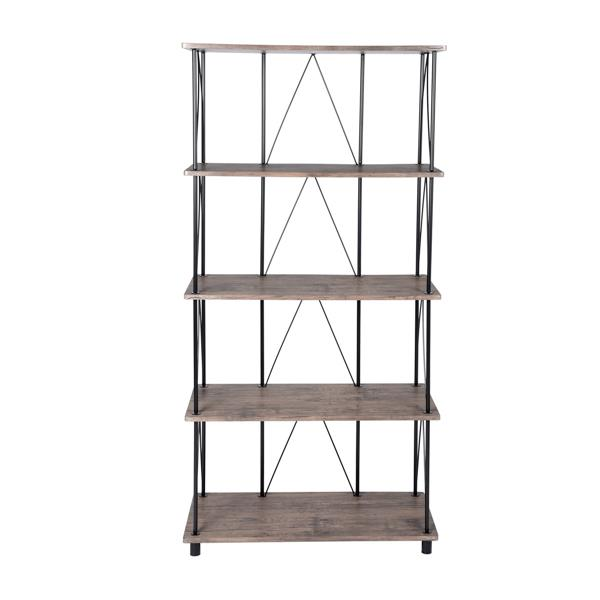 Bibliothèque Sorrento en bois et métal noir, 5 tablettes