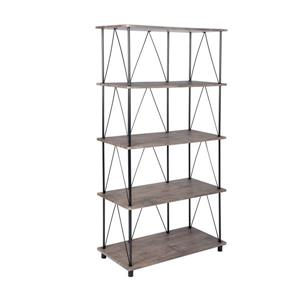 Sorrento Bookcase - Wood and Black Metal - 5 shelves.