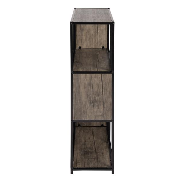 Bibliothèque/Étagère Emely, métal noir et bois