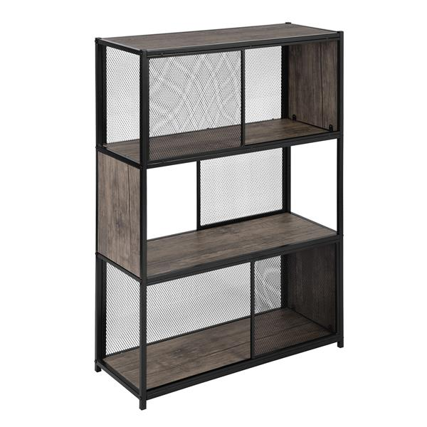 FurnitureR Emely Bookcase/Shelf - Wood and Black Metal