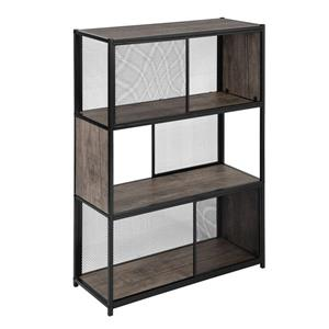 FurnitureR Emely Bookcase/Shelf - Wood and Black Metal