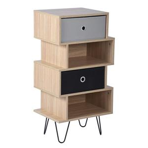 FurnitureR Kenneth Small Shelf and Storage cabinet - Wood/Grey/Black