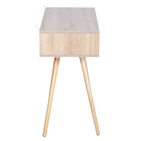 FurnitureR Ulton Brown Office Desk - Light Wood and 1 White Drawer