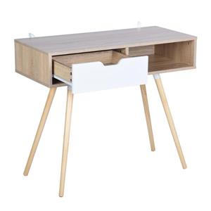 FurnitureR Ulton Brown Office Desk - Light Wood and 1 White Drawer