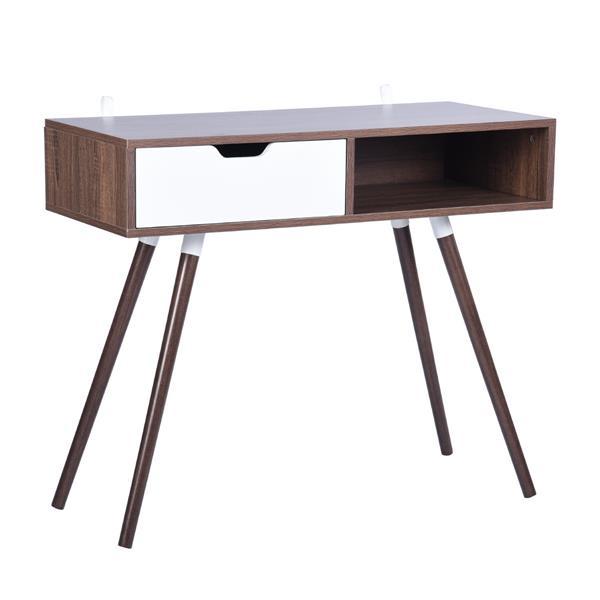 FurnitureR Ulton Brown Office Desk - Walnut and 1 White Drawer