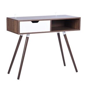 FurnitureR Ulton Brown Office Desk - Walnut and 1 White Drawer
