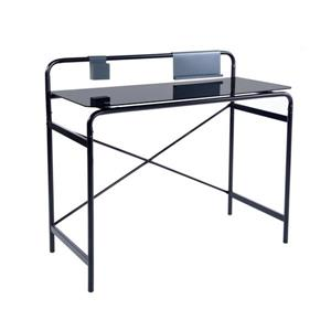 FurnitureR Tom Computer Desk - Black Glass and Metal - 39""