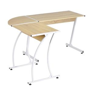 FurnitureR Arlette Computer Desk - Natural Oak and White