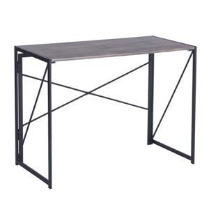 Table d'ordinateur pliable Harper, bois et métal noir