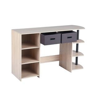 """FurnitureR Pant Computer Desk - Wood and Black Metal - 47"""""""