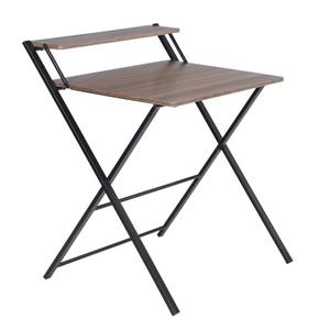 FurnitureR Megan Folding Table for Computer - Black Powder Coating