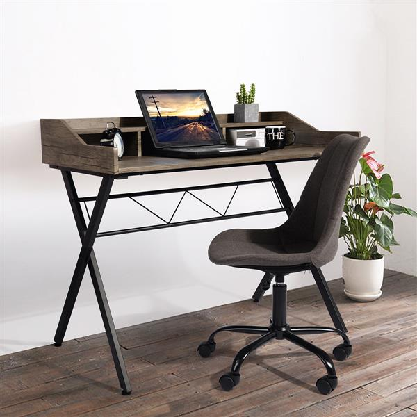 FurnitureR Fort Computer Desk with Hutch - Brown and Black - 41""