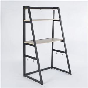 Table avec étagère intégrée FurnitureR, hêtre et métal noir
