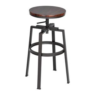 FurnitureR Mid-Century Bar Stool - Walnut - Set of 2