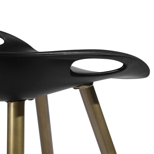 FurnitureR Fixed Height Bar Stool - Black&Bronze - Set of 2