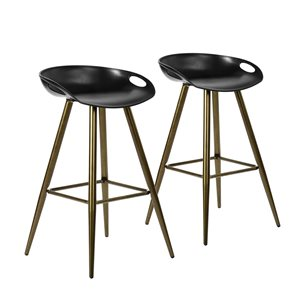 FurnitureR Fixed Height Bar Stool - Black&Bronze - Set of 2