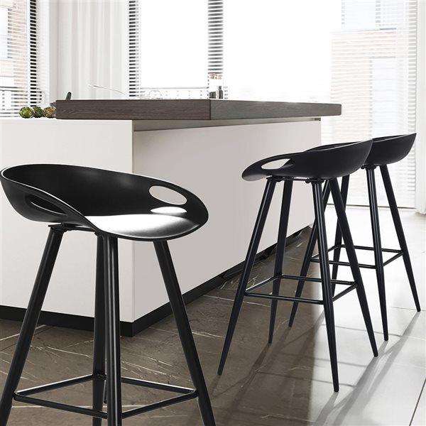FurnitureR Fixed Height Bar Stool - Black - Set of 2
