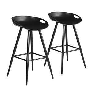 FurnitureR Fixed Height Bar Stool - Black - Set of 2