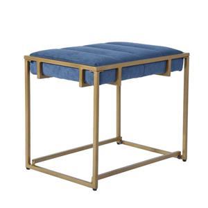 FurnitureR COWAN Ottoman - Blue Velvet and Gold - Set of 2.