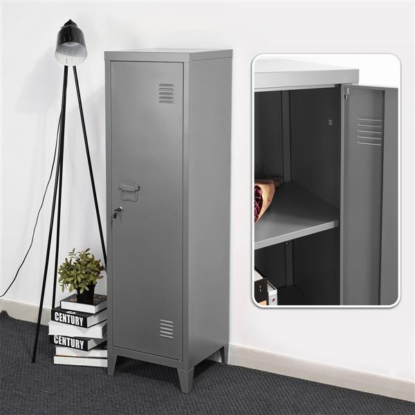 FurnitureR Councilbluffs Metal Cabinet/Locker -  Dark Grey - 54.1-in