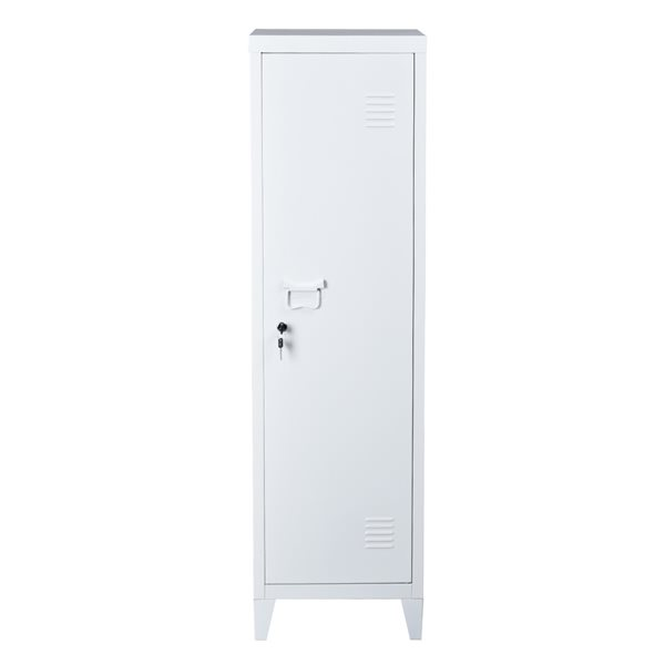 FurnitureR Councilbluffs Metal Cabinet/Locker -  White - 54.1-in