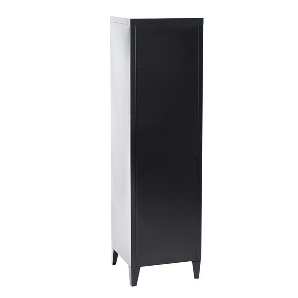 FurnitureR Councilbluffs Metal Cabinet/Locker -  Black - 54.1-in