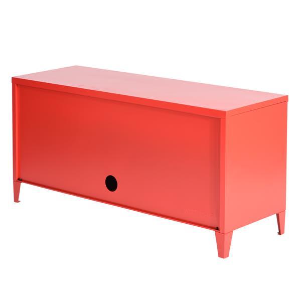 FurnitureR Storage Cabinet 3-Door Metal File locker - Red - 47.2-in