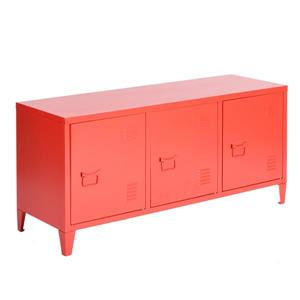 FurnitureR Storage Cabinet 3-Door Metal File locker - Red - 47.2-in