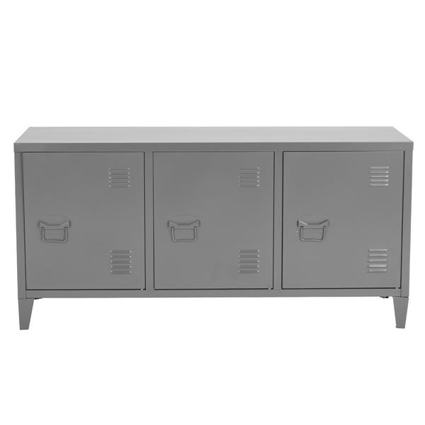 FurnitureR Storage Cabinet 3-Door Metal File locker - Dark Grey- 47.2-in