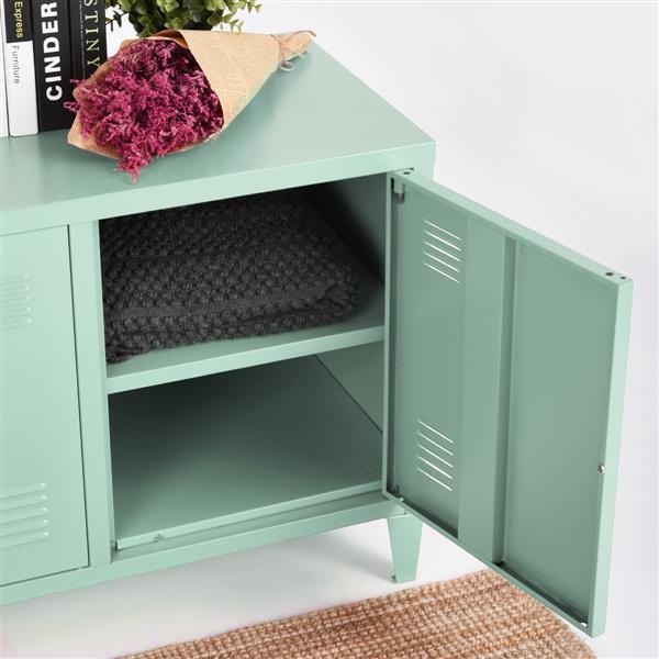 FurnitureR Storage Cabinet 3-Door Metal File locker - Green - 47.2-in