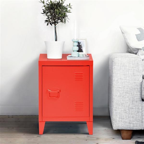 FurnitureR Graves Solo Metal Cabinet - Red - 22.6-in