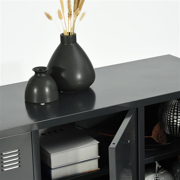 FurnitureR Storage Cabinet 3-Door Metal File locker - Black - 47.2-in