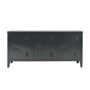 FurnitureR Storage Cabinet 3-Door Metal File locker - Black - 47.2-in