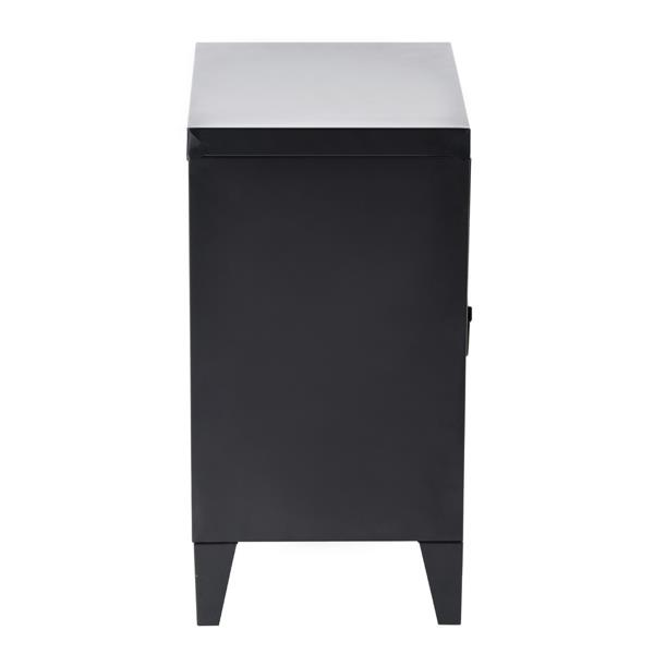 FurnitureR Graves Solo Metal Cabinet - Black - 22.6-in