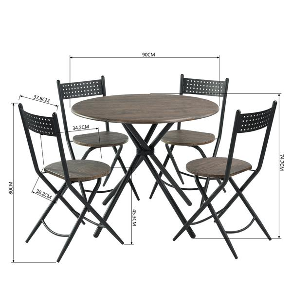 FurnitureR Foldable Dining Set - 1 Table - 4 Chairs - Brown