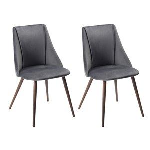 FurnitureR Chaise de salle à manger moderne - gris - lot de 2