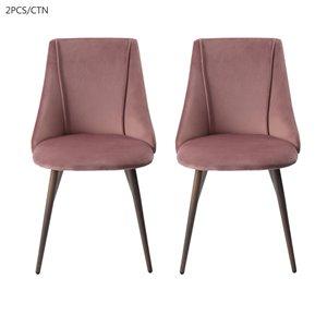 FurnitureR Chaise de salle à manger moderne - rose - lot de 2