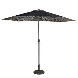 Northlight Patio Umbrella with Hand Crank & Tilt - Black/Tan Swirl