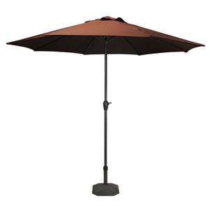 Northlight Patio Market Umbrella with Hand Crank and Tilt - Brown - 8'