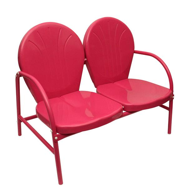 Northlight Pink Retro Metal Tulip Double Chair - 2-Seat