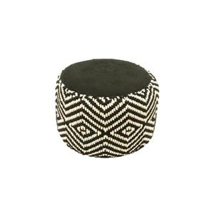 Northlight Luxury Black and White Woven Diamond Footrest Ottoman