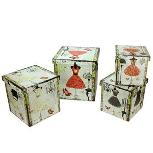 Northlight Wooden Vintage-Style Fashion Dresses Storage Boxes- Set of 4