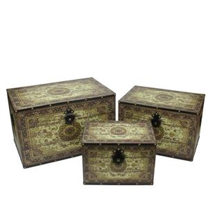 Northlight Earth Tone Wooden Storage Boxes - Brown/Cream - Set of 3