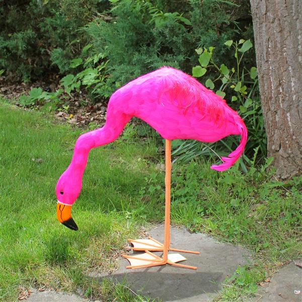 """Northlight Feathered Flamingo with Head Down Décor - Hot Pink - 27.5"""""""