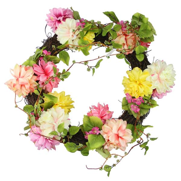 """Northlight Pink and Yellow Mum and Wild Blossom Floral Wreath - 22"""""""
