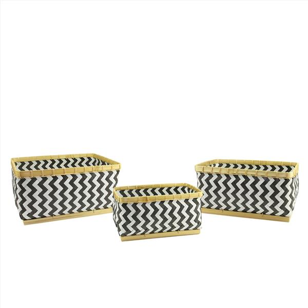 Northlight Basic Luxury Gunmetal Gray and White Baskets - Set of 3
