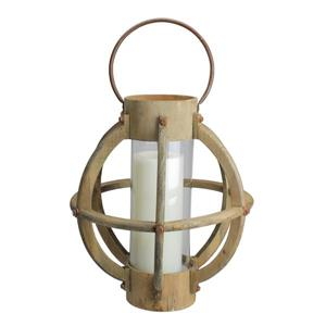 Northlight Seaside Treasures Drift Wood and Glass Pillar Candle Lantern